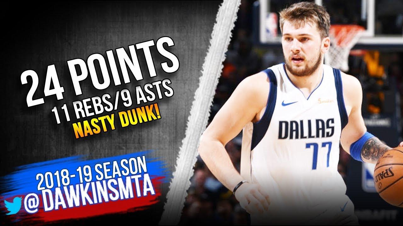 Luka Doncic Full Highlights 2019.03.14 Mavs vs Nuggets – 24-11-9, NASTY Dunk!   FreeDawkins