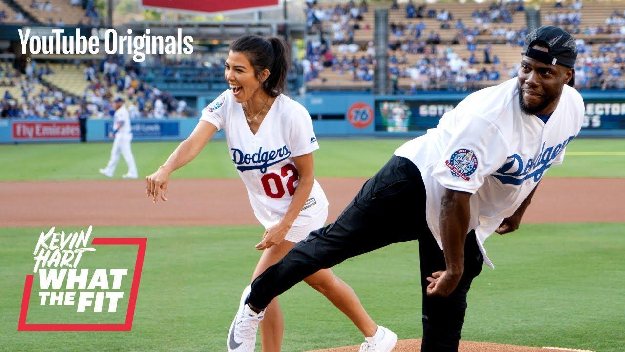 The Dodgers Train Kourtney Kardashian and Kevin Hart