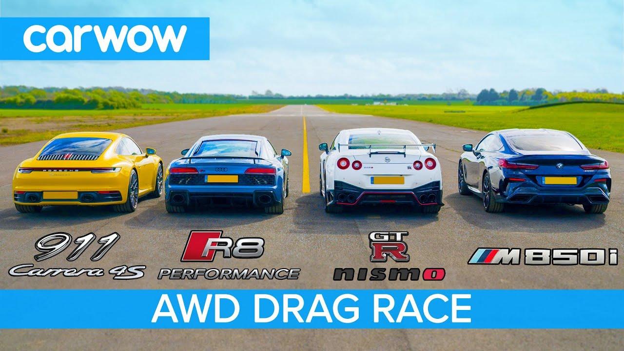 New 911 vs GT-R NISMO vs Audi R8 vs BMW M850i – DRAG RACE, ROLLING RACE & BRAKE TEST