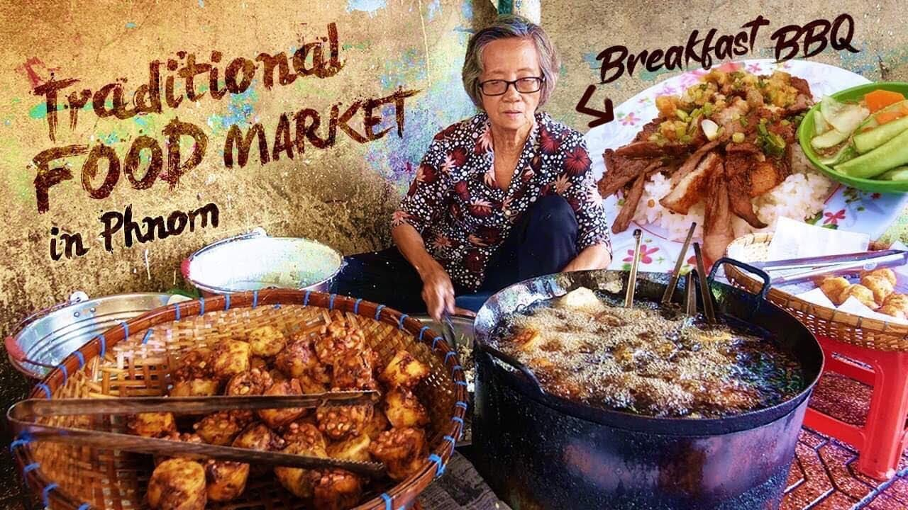 Cambodian BREAKFAST BBQ & Traditional FOOD MARKET in Phnom Penh