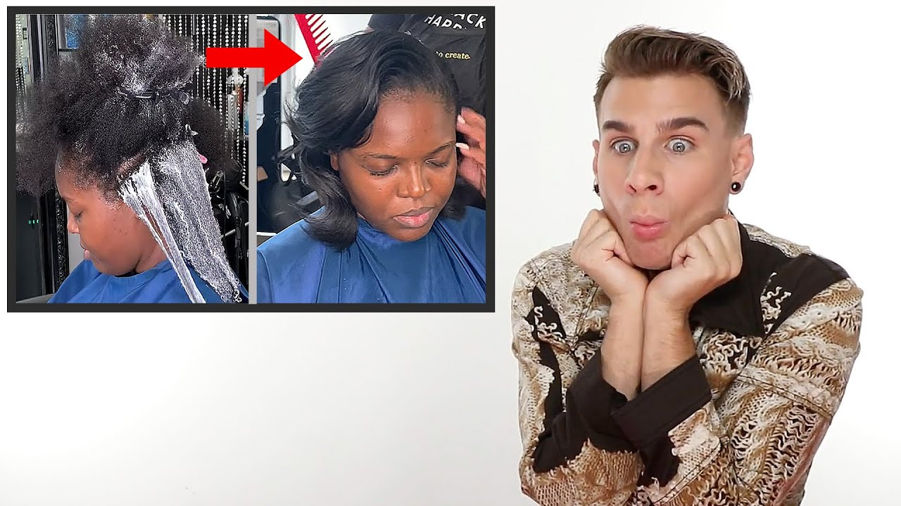 Hairdresser Reacts To Relaxer Treatment (Satisfying)