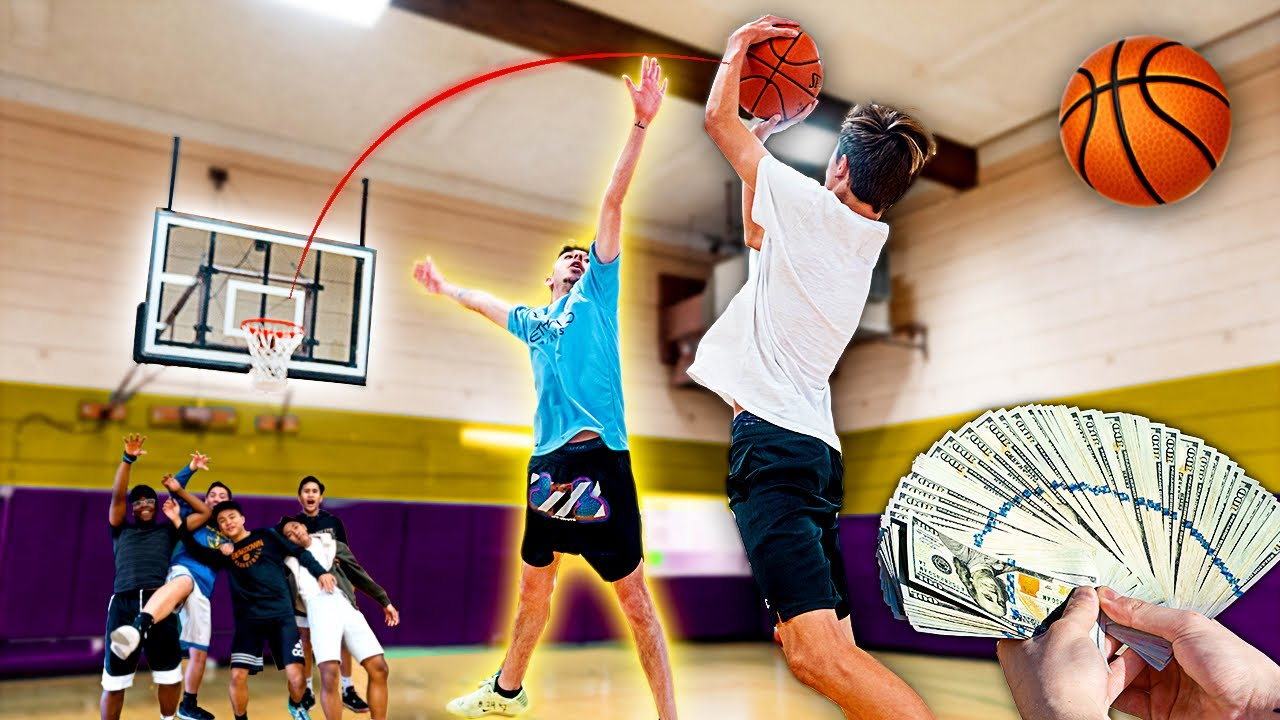Score on Me, You Get $1,000 VS Random People! **BASKETBALL CHALLENGE**