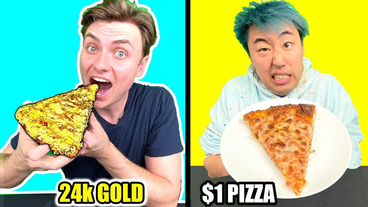 $1 PIZZA VS 24K GOLD PIZZA!!