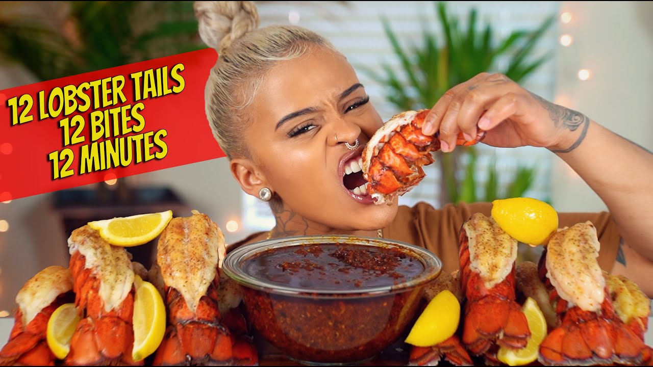12 LOBSTER TAILS IN 12 BITES IN 12 MINUTES MUKBANG (BLOVE'S SMACKALICIOUS SAUCE)