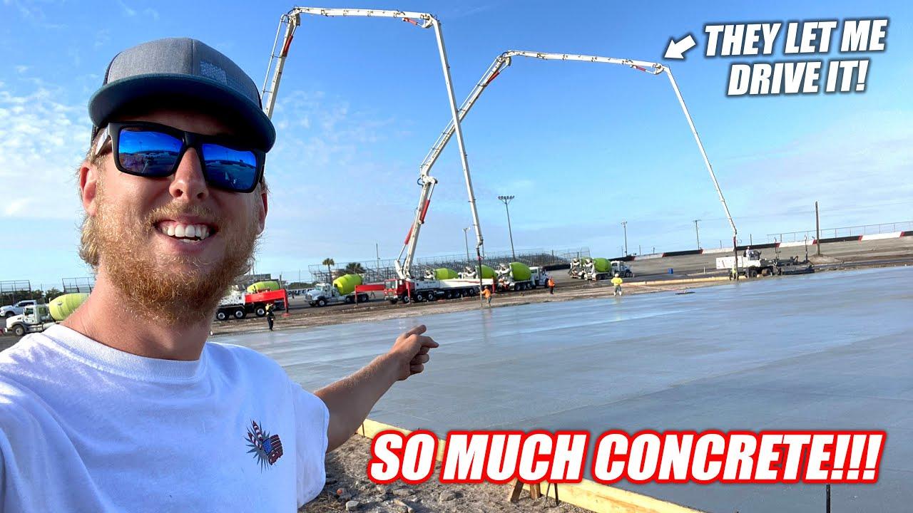 Building the Freedom Factory a GIANT Burnout/Drift Pad Part 4!!! (3am CONCRETE POUR!!)