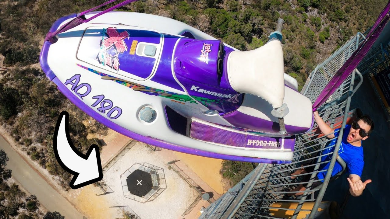 JET SKI Vs. WORLD'S STRONGEST TRAMPOLINE from 45m!