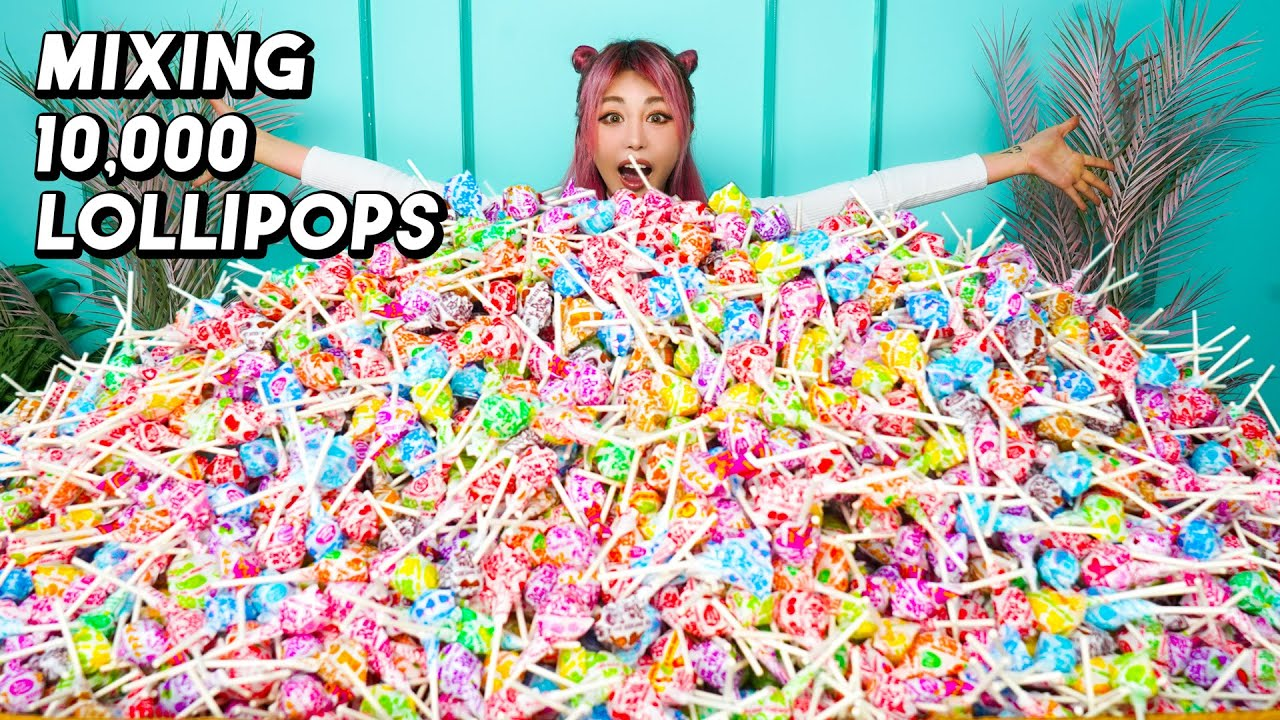 Mixing Together 10,000 Lollipops Into One GIANT Lollipop