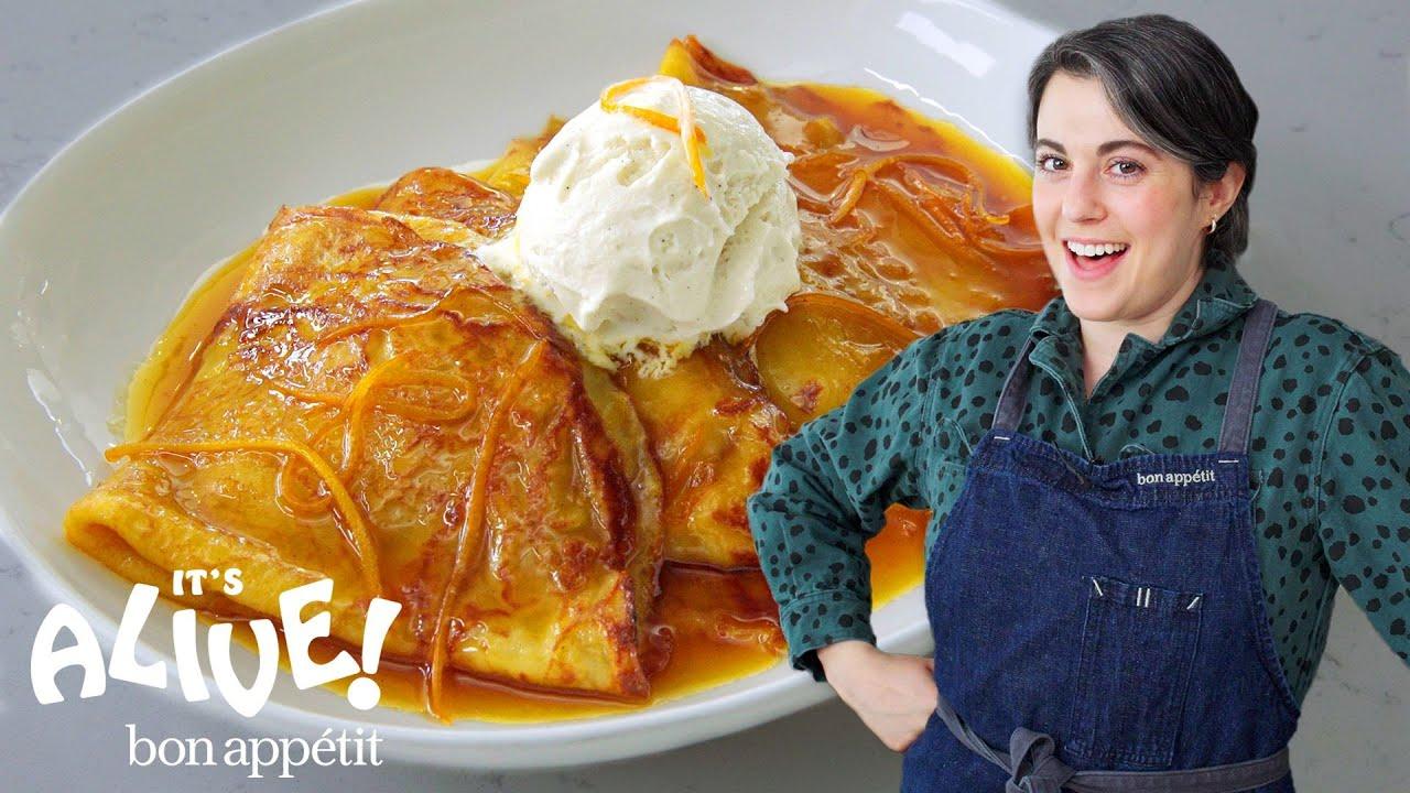 Claire Make Sourdough Crêpes Suzette   It's Alive   Bon Appétit