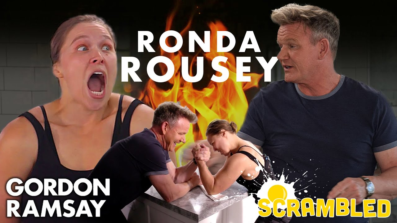 Ronda Rousey & Gordon Ramsay Wrestle While Making Breakfast Burritos | Scrambled