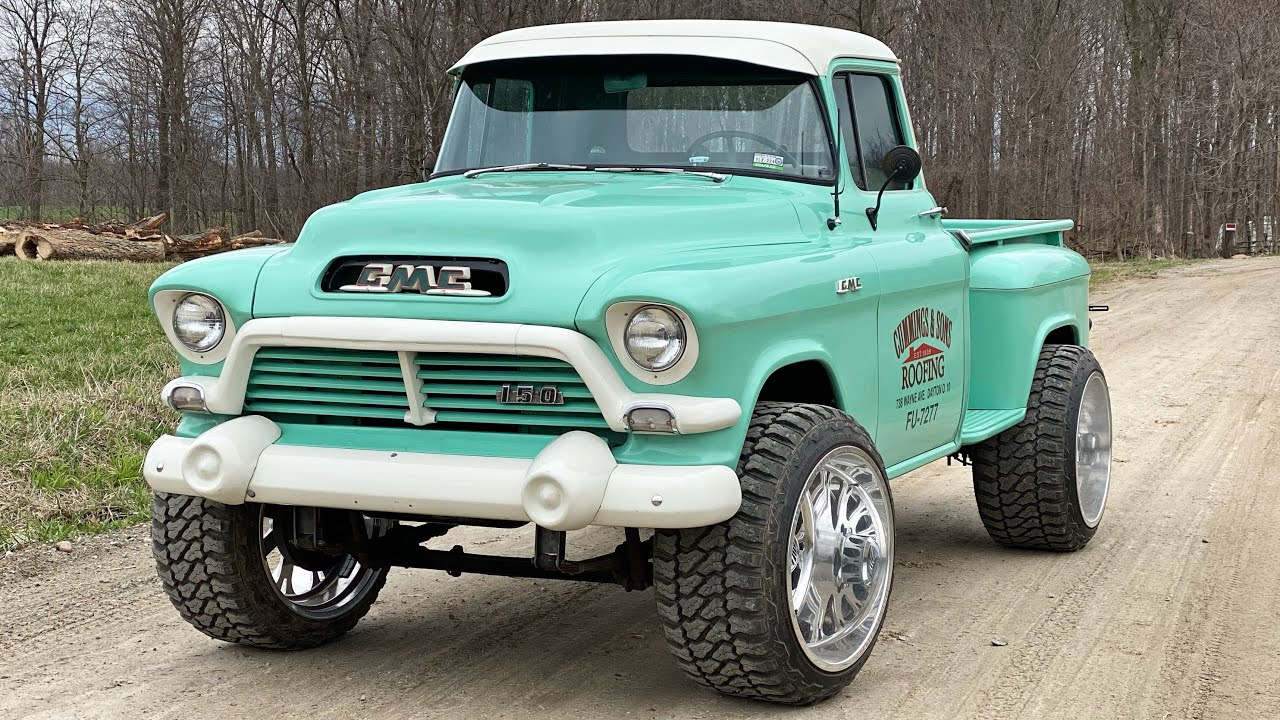 We put $10,000 wheels and lift on the 1957 GMC and it looks freakin good