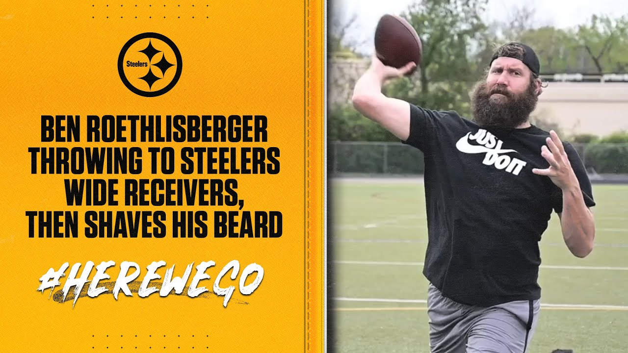 Ben Roethlisberger THROWS to JuJu, Conner, Switzer THEN gets his beard SHAVED | Pittsburgh Steelers