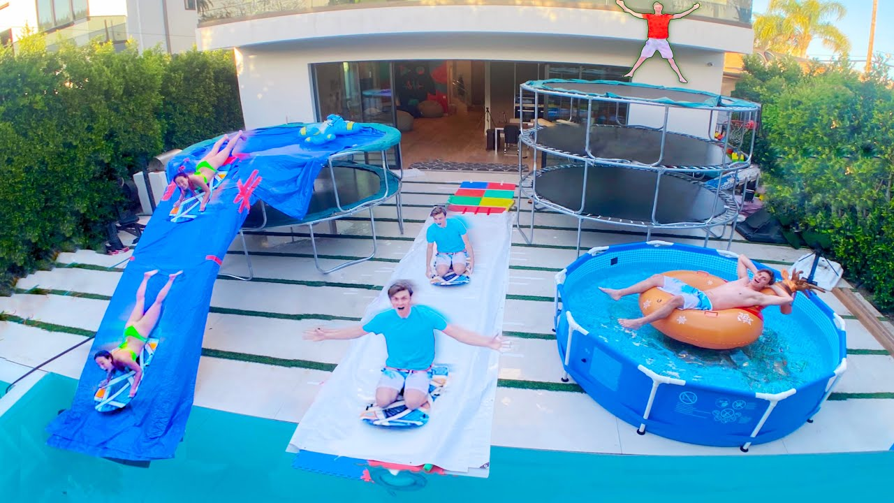 I BUILT A WATERPARK IN HIS BACKYARD!!