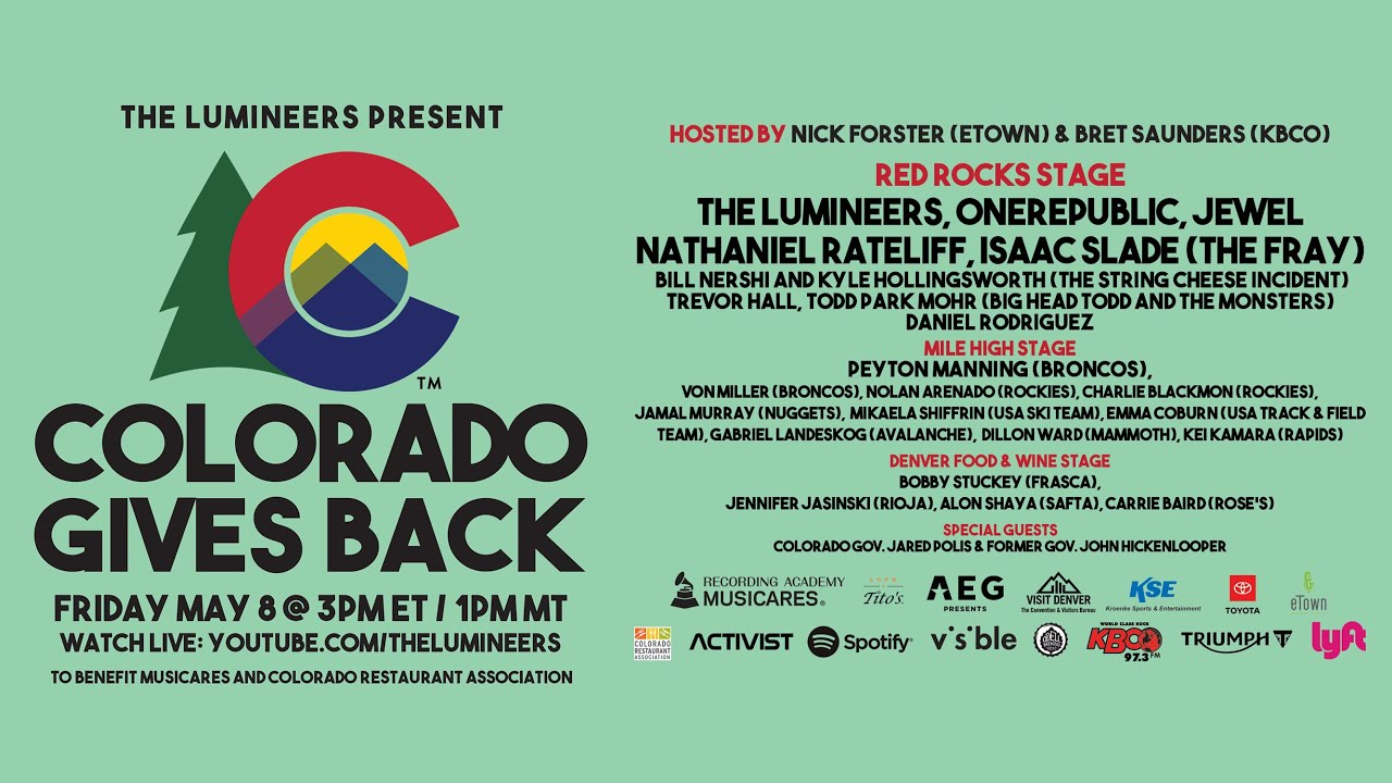 The Lumineers Present: #ColoradoGivesBack To Benefit MusiCares & The Colorado Restaurant Association