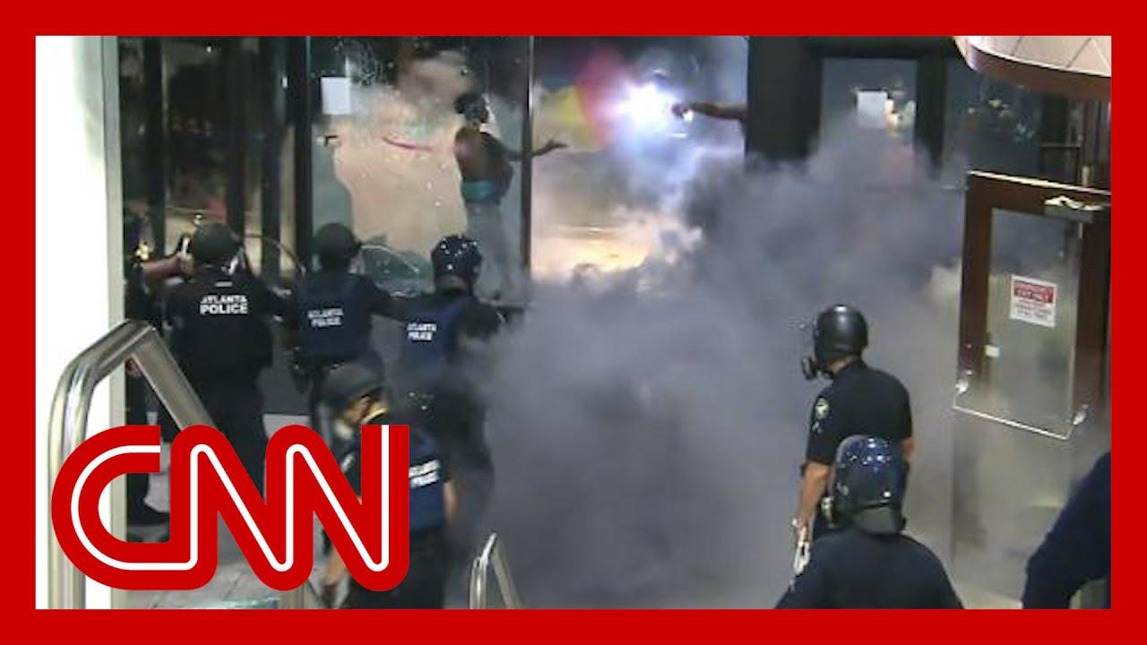 Violent George Floyd protests at CNN Center unfold live on TV