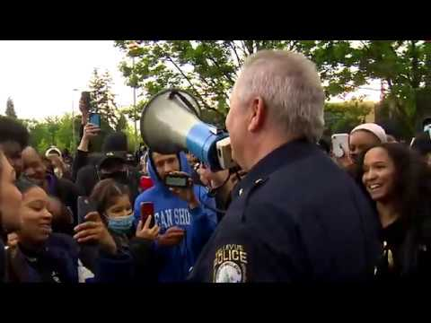 """Bellevue, WA Police Chief addresses protesters: """"We are with you, we're not against you."""""""