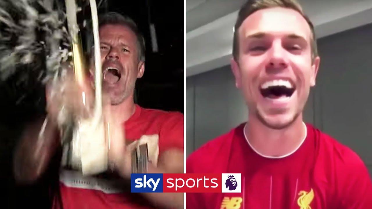 Jordan Henderson celebrates the Premier League title with Jamie Carragher ??