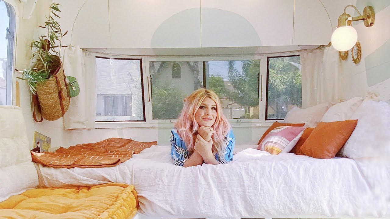 Revealing Our Colorful Tiny Home on Wheels! Airstream Before and After!
