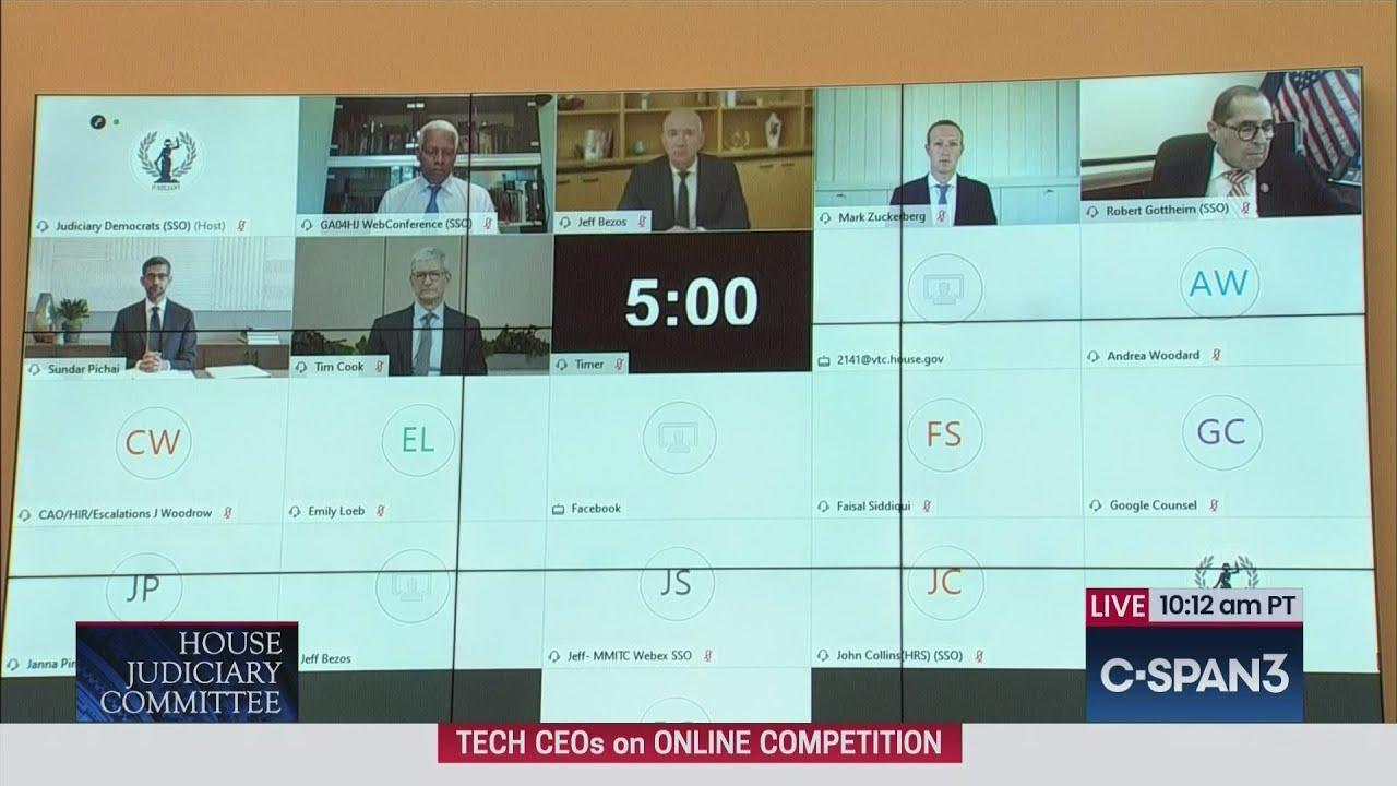 CEOs Mark Zuckerberg, Tim Cook, Jeff Bezos & Sundar Pichai testify before House Judiciary Cmte