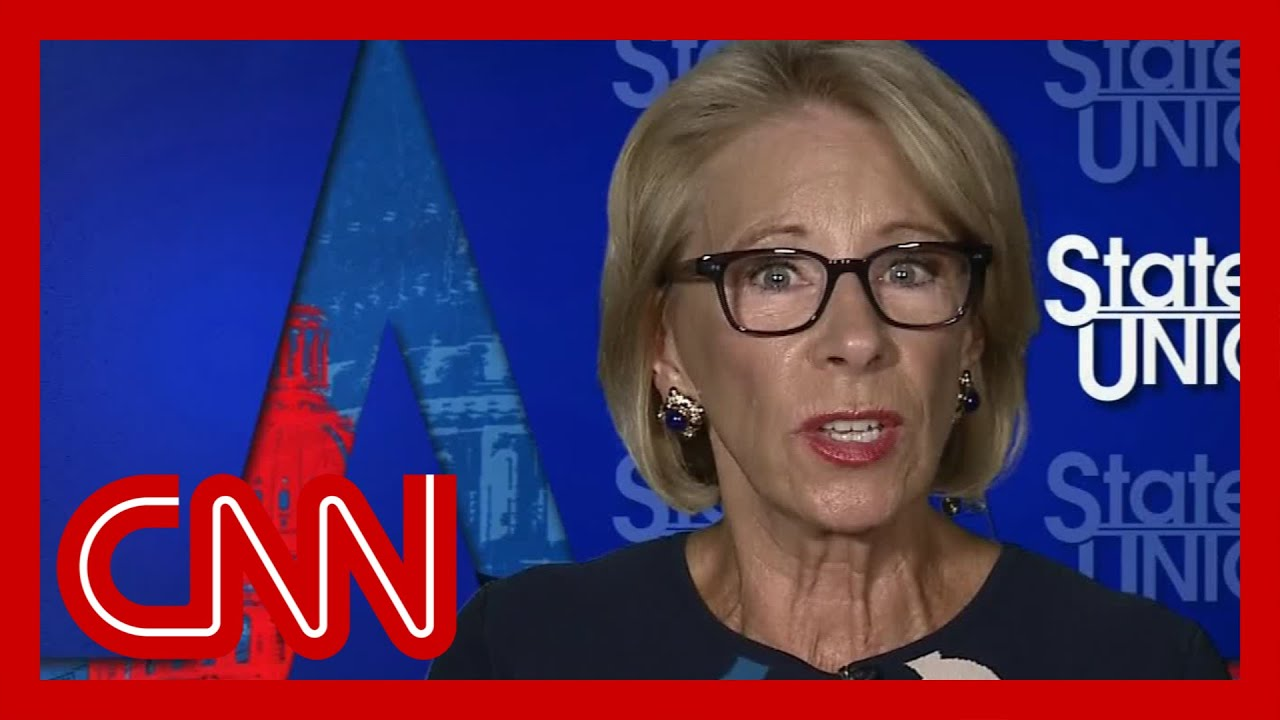 DeVos asked if she has a plan to reopen schools. See her response