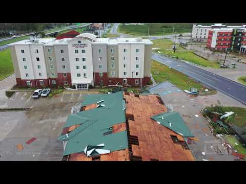 8-27-2020 Lake Charles, La Hurricane Laura Homes destroyed, flooded, trees down drone