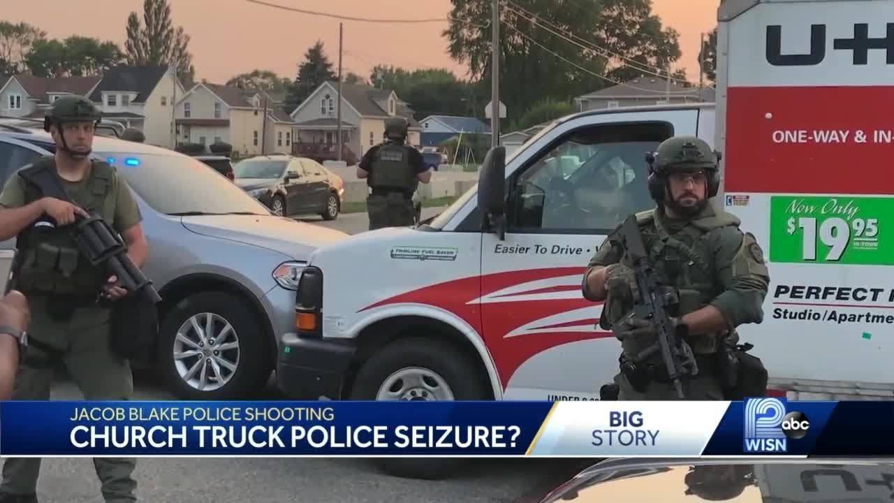 Truck with supplies for protesters seized by law enforcement officers in Kenosha