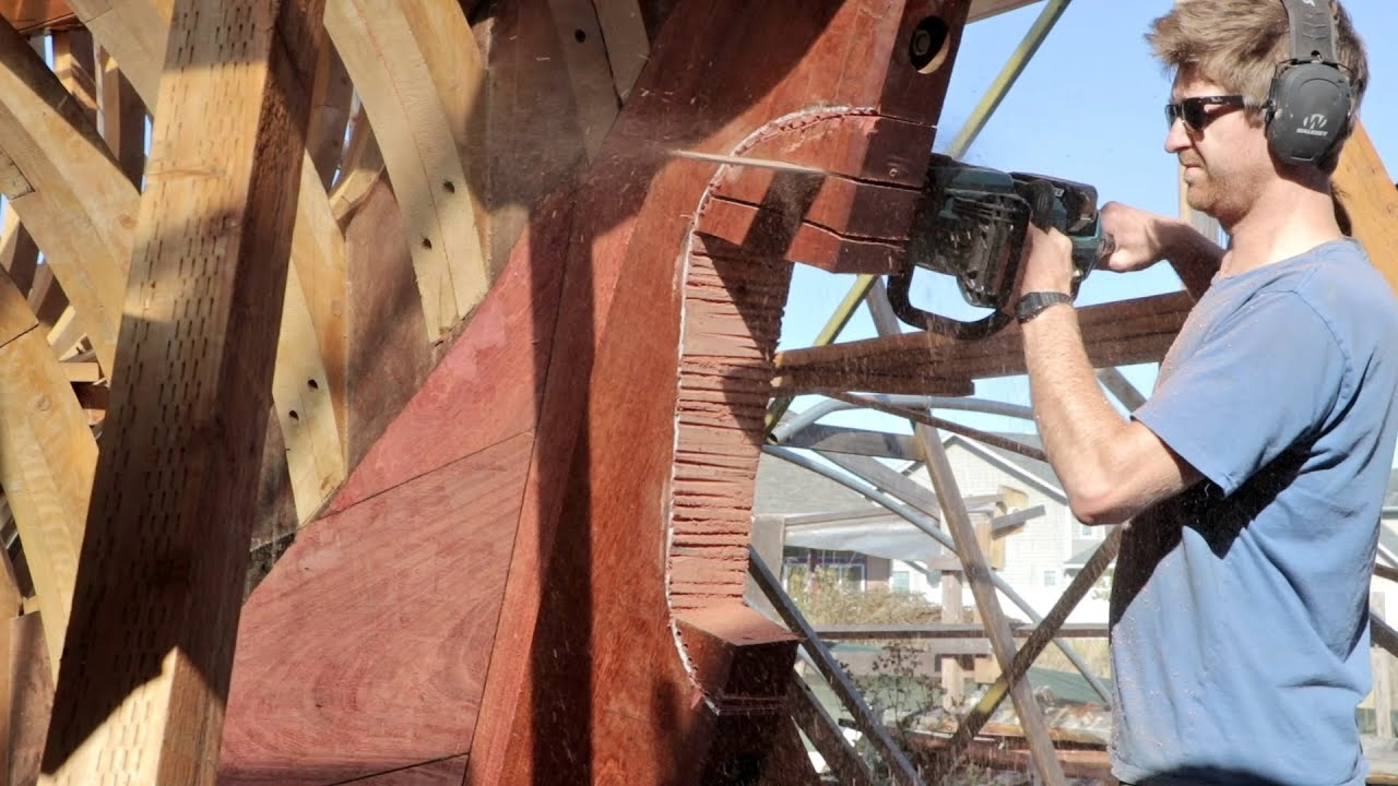 Cutting for Propeller / Boring for Prop-Tube ( Wooden Boat Rebuild / EP80)