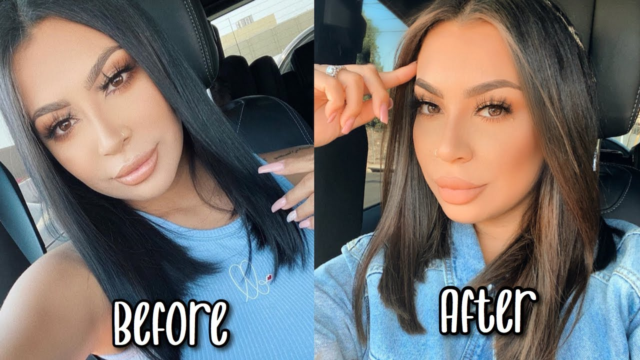 DYING MY HAIR FROM BLACK TO BROWN + HUSBANDS REACTION *SO CUTE*