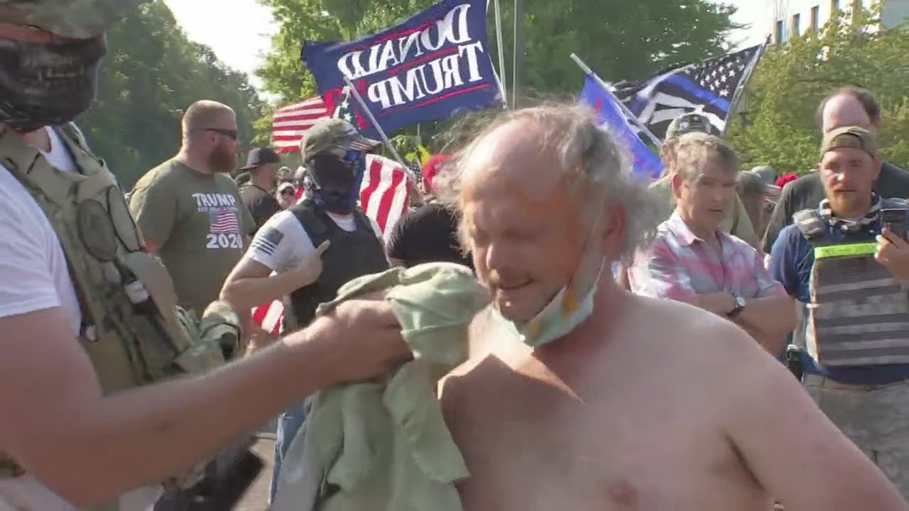 Protesters clash in Salem after caravan of Trump supporters gather in Oregon City
