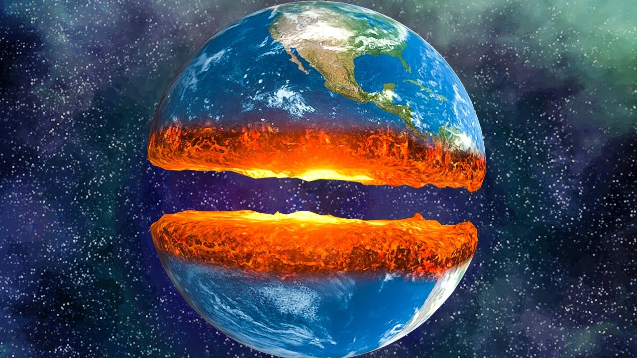 when you cut the earth completely in half