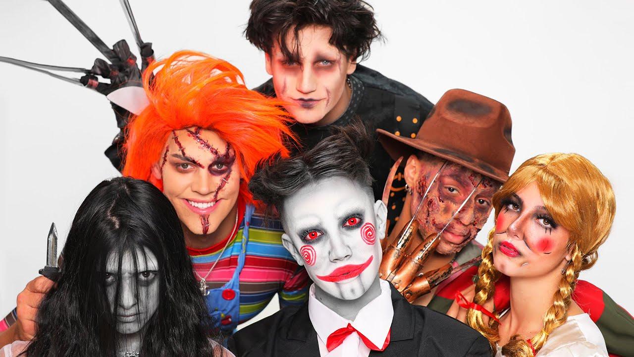 Doing My Best Friend's Halloween Makeup ft. Charli, Dixie, Noah, Larray & Chase