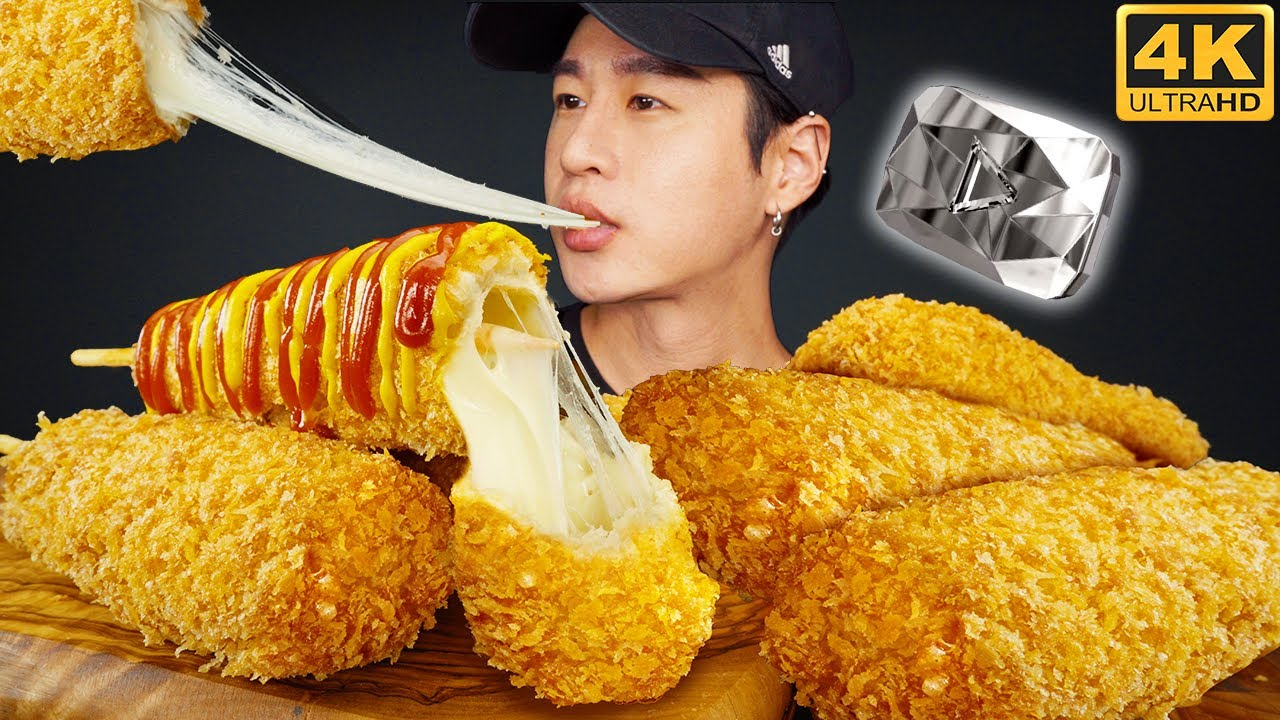 ASMR MOZZARELLA CORN DOGS MUKBANG 먹방 | COOKING & EATING SOUNDS + THANK YOU FOR 10 MILLION SUBS