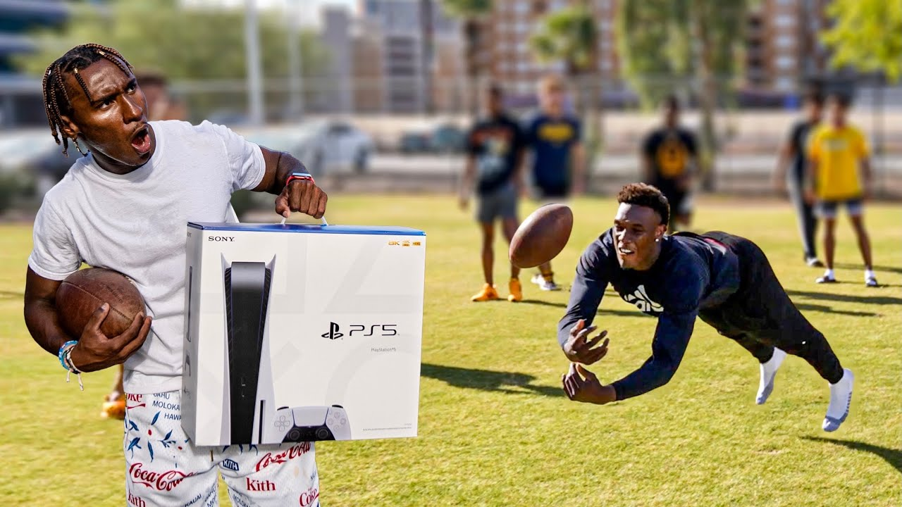 LAST TO DROP A PASS WINS A PS5! (D1 COLLEGE FOOTBALL PLAYERS)