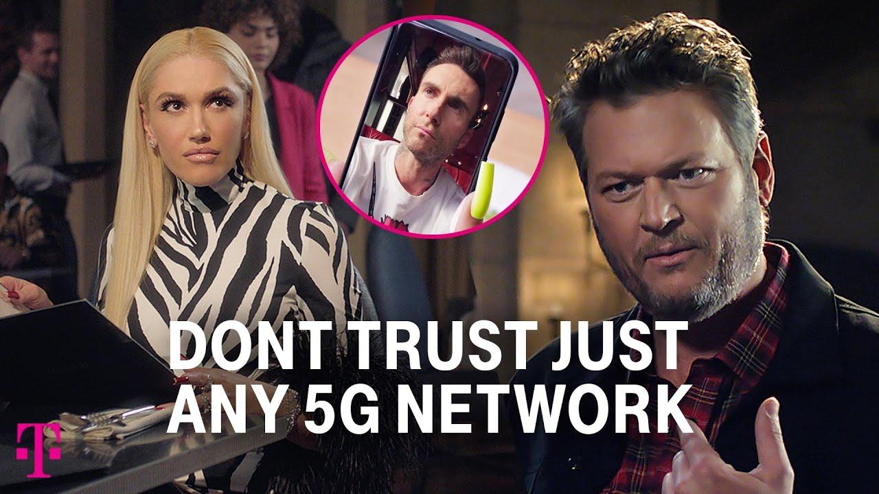 Adam Levine Sets Up Gwen Stefani & Blake Shelton | T-Mobile Big Game 2021 Commercial