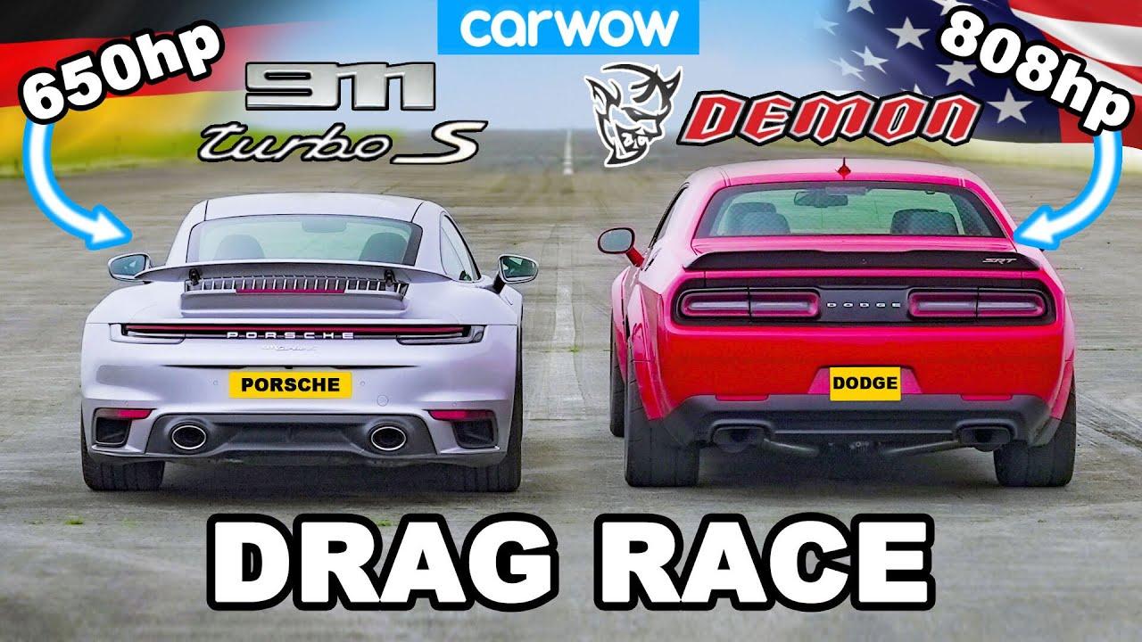 Dodge Challenger Demon v Porsche 911 Turbo S – DRAG RACE