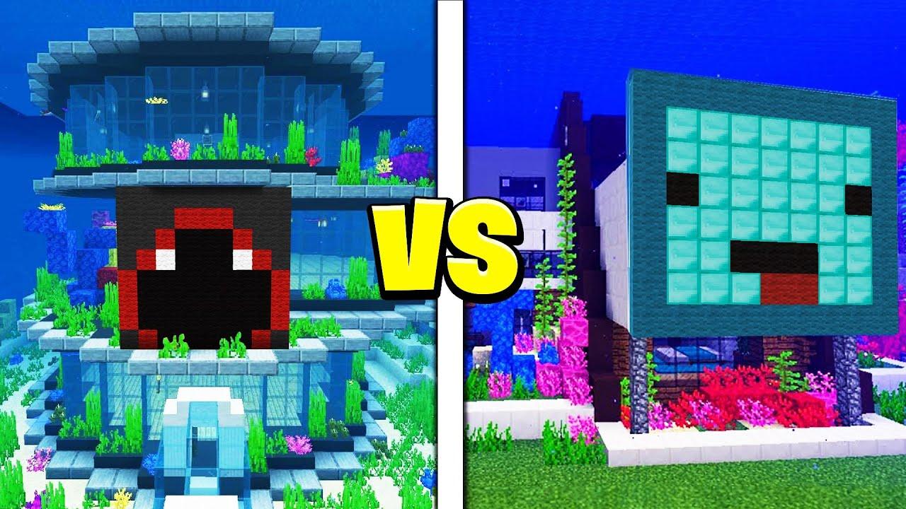 Skeppy vs BadBoyHalo UNDERWATER House Battle! – Minecraft