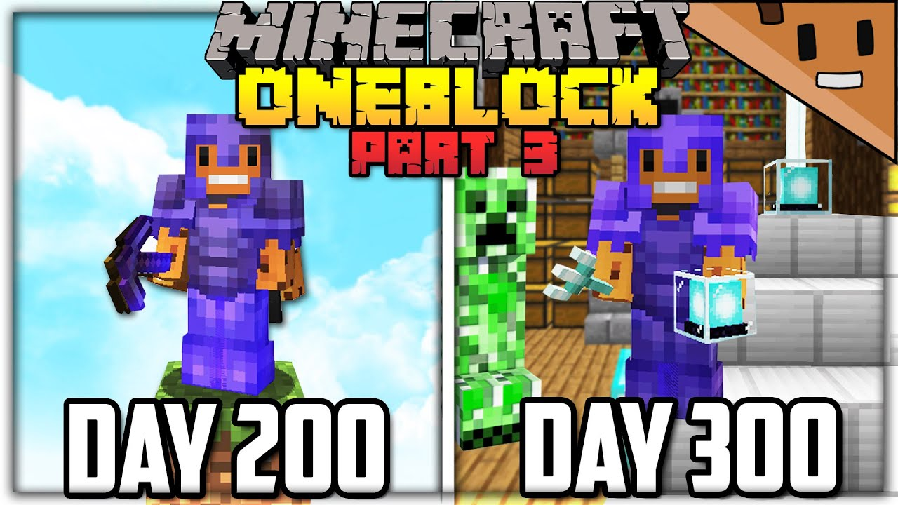 I Spent 300 Days in ONE BLOCK Minecraft… Here's What Happened