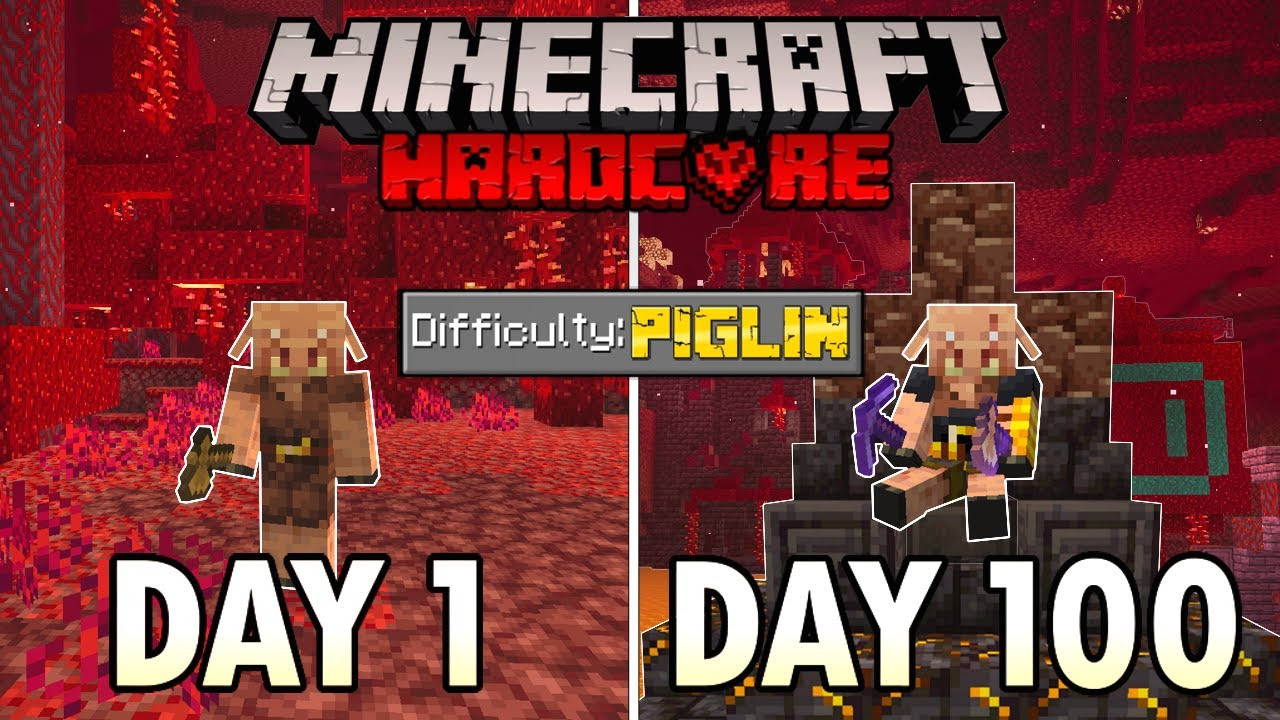 I Survived 100 Days as a PIGLIN in Hardcore Minecraft… Minecraft Hardcore 100 Days
