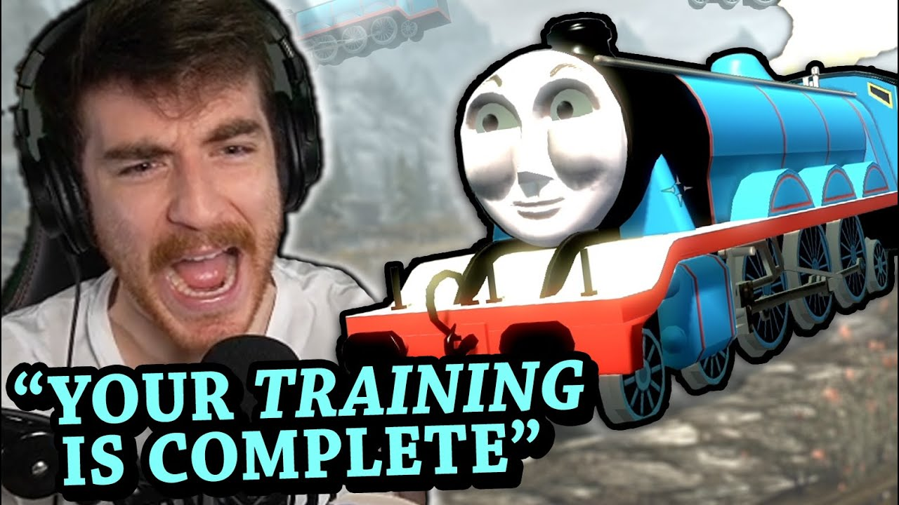 """Skyrim, but if I say """"train"""" then Thomas the Tank Engine appears"""